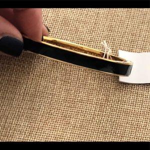 NWT Kate SpadeBlack Enamel Gold Hinged Bracelet